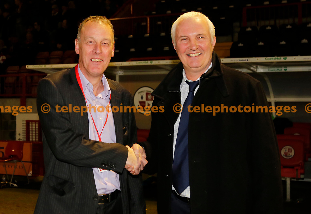 Tony Vessey with former CTFC player Paul Fishenden during the Sky Bet League 2 match between Crawley Town and Crewe Alexandra at the Checkatrade Stadium in Crawley. March 14, 2017.<br />