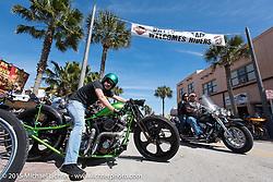 Jordan Wingard of Florida on his custom Harley-Davidson on Main Street during Daytona Beach Bike Week 2015. FL, USA. Sunday, March 8, 2015.  Photography ©2015 Michael Lichter.