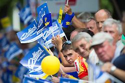 03.07.2012, Osttirol, AUT, 64. Oesterreich Rundfahrt, 3. Etappe, Kitzbuehel - Lienz, im Bild FEATURE, Fans mit Osttirol Fahnen // Fans with Osttirol Flags during the 64rd Tour of Austria, Stage 3, from Kitzbuehel to Lienz, Lienz, Austria on 2012/07/03. EXPA Pictures © 2012, PhotoCredit: EXPA/ Johann Groder