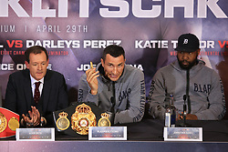 27 April 2017 - Boxing - Anthony Joshua v Wladimir Klitschko Press conference - Wladimir Klitschko hold s memory stick containing his prediction for the fight, due to be auctioned for charity after the event - Photo: Marc Atkins / Offside.