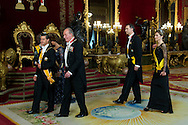 King Juan Carlos of Spain, Queen Sofia of Spain, Prince Felipe of Spain and Princess Letizia of Spain attend a Dinner Gala with United States of Mexico President Enrique Pena Nieto and Mrs. Angelica Rivera at Royal Palace on June 9, 2014 in Madrid
