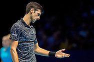 Novak Djokovic of Serbia frustrated during the Nitto ATP Tour Finals at the O2 Arena, London, United Kingdom on 18 November 2018. Photo by Martin Cole