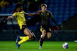 Kieran Phillips of Bristol Rovers takes on Nico Jones of Oxford United - Mandatory by-line: Robbie Stephenson/JMP - 06/10/2020 - FOOTBALL - Kassam Stadium - Oxford, England - Oxford United v Bristol Rovers - Leasing.com Trophy