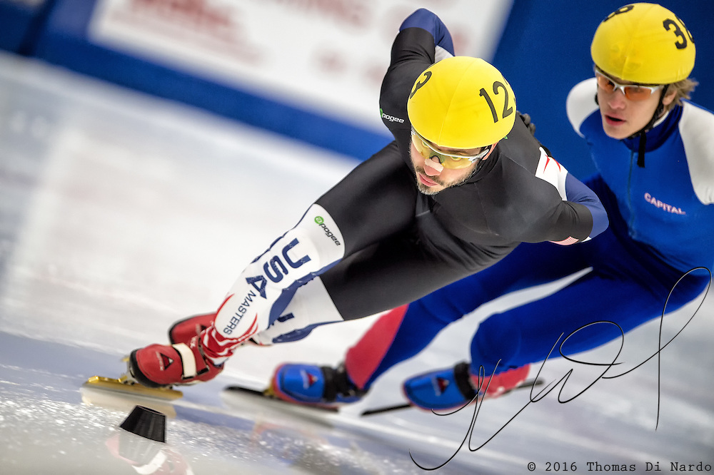 March 20, 2016 - Verona, WI - Adam Kucharik, skater number 123 competes in US Speedskating Short Track Age Group Nationals and AmCup Final held at the Verona Ice Arena.