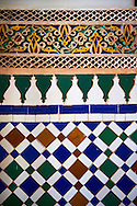 Zellige Tile decorative panels.The Petite Court, Bahia Palace, Marrakesh, Morroco .<br /> <br /> Visit our MOROCCO HISTORIC PLAXES PHOTO COLLECTIONS for more   photos  to download or buy as prints https://funkystock.photoshelter.com/gallery-collection/Morocco-Pictures-Photos-and-Images/C0000ds6t1_cvhPo<br /> .<br /> <br /> Visit our ISLAMIC HISTORICAL PLACES PHOTO COLLECTIONS for more photos to download or buy as wall art prints https://funkystock.photoshelter.com/gallery-collection/Islam-Islamic-Historic-Places-Architecture-Pictures-Images-of/C0000n7SGOHt9XWI