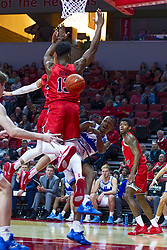NORMAL, IL - February 22: D.J. Wilkins passes underneath Rey Idowu during a college basketball game between the ISU Redbirds and the Drake Bulldogs on February 22 2020 at Redbird Arena in Normal, IL. (Photo by Alan Look)