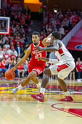 NORMAL, IL - February 16:  Dwayne Lautier-Ogunleye drives in on defender Malik Yarbrough during a college basketball game between the ISU Redbirds and the Bradley Braves on February 16 2019 at Redbird Arena in Normal, IL. (Photo by Alan Look)