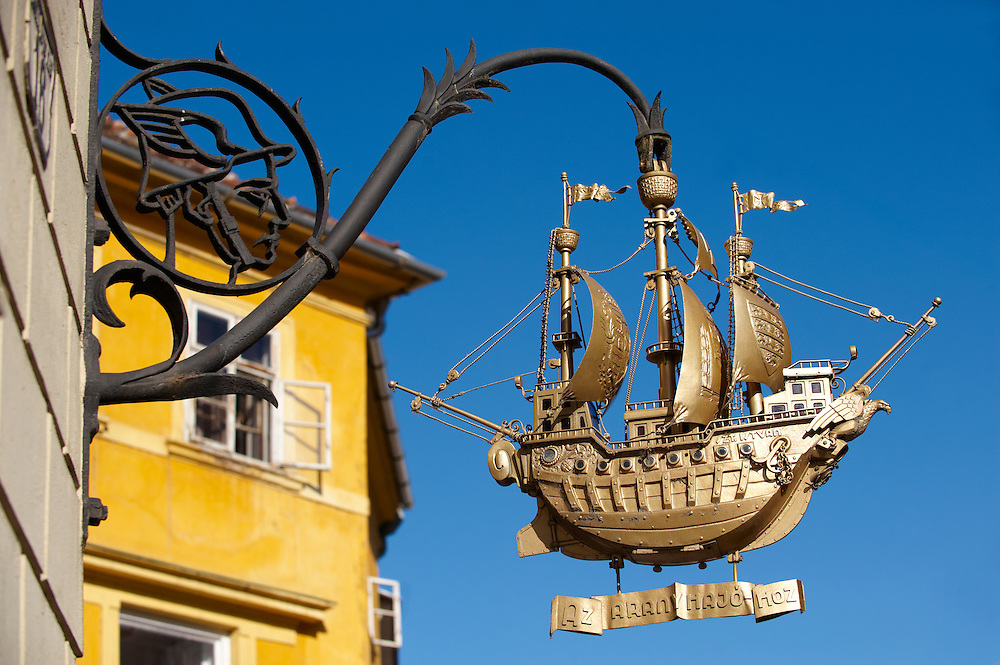 The Golden Ship Sign created by Bandi Schima 1938 - ( Gy?r )  Gyor Hungary .<br /> <br /> Visit our HUNGARY HISTORIC PLACES PHOTO COLLECTIONS for more photos to download or buy as wall art prints https://funkystock.photoshelter.com/gallery-collection/Pictures-Images-of-Hungary-Photos-of-Hungarian-Historic-Landmark-Sites/C0000Te8AnPgxjRg