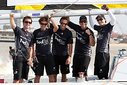 Adam Minoprio (NZL) and ETNZ/Black Match Racing wins the Monsoon Cup 2009. From left to right Adam Minoprio (NZL), Nick Blackmann (NZL), Daniel McLean (NZL),David Swete (NZL) and Tom Powrie (NZL). Kuala Terengganu, Malaysia. 6 December 2009. Photo: Sander van der Borch / Subzero Images