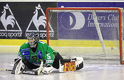 Goalkeeper of Olimpija Markus Korhonen at 39th Round of EBEL League ice hockey match between HDD Tilia Olimpija and HK Acroni Jesenice, on December 30, 2008, in Arena Tivoli, Ljubljana, Slovenia. Tilia Olimpija won 4:3. (Photo by Vid Ponikvar / SportIda).