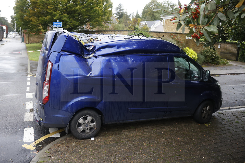 © Licensed to London News Pictures. 02/10/2020. London, UK. A fallen tree has hit a van and blocked traffic on Kingston Hill in south west London in wet and windy conditions. The south is due to feel the effects of Storm Alex over the next few days with 90mph winds and heavy rain forecast. Photo credit: Peter Macdiarmid/LNP
