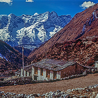 The Himalay tower behind Pangboche village in the Khumbu region of Nepal.
