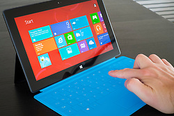Using Windows 8 on a Microsoft Surface rt tablet computer with touch keyboard attached