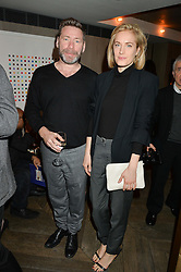 MAT COLLISHAW and POLLY MORGAN at the 3rd birthday party for Spectator Life magazine hosted by Andrew Neil and Olivia Cole held at the Belgraves Hotel, 20 Chesham Place, London on 31st March 2015.