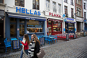 Row of Greek restaurants in Brussels, Belgium. The Brussels-Capital Region is a region of Belgium comprising 19 municipalities, including the City of Brussels.
