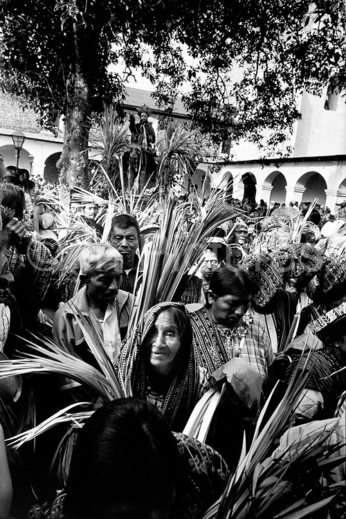 Holy Week or Semana Santa, in Santiago Atitlan, Guatemala, is a mix of Catholicism blended with traditional Mayan culture. Semana Santa is the time where god sky (Jesucristo nahual) has been sacrificed and his twin brother god earth, the Rilaj Mam, or Maximon, takes over while Jesus awaits ressurection. Palm Sunday celebrations. Easter, Guatemala