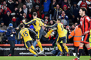 Arsenal Players Celebrate after Arsenal Forward, Olivier Giroud (12) score to make it 3-3 during the Premier League match between Bournemouth and Arsenal at the Vitality Stadium, Bournemouth, England on 3 January 2017. Photo by Adam Rivers.