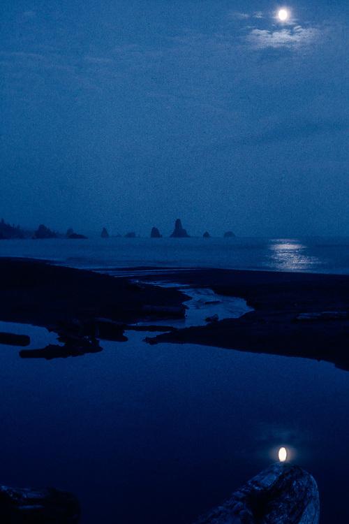 Moon over Third Beach, Olympic National Park,  Washington, USA