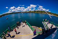 Bainbridge Island ferry (with the island behind), Puget Sound, Seattle, Washington USA.