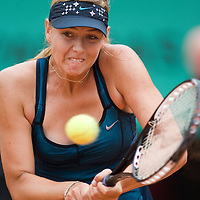 07 June 2007: Russian player Maria Sharapova hits a backhand shot to Serbian player Ana Ivanovic during the French Tennis Open semi final won 6-2, 6-1 by Ana Ivanovic over Maria Sharapova on day 12 at Roland Garros, in Paris, France.