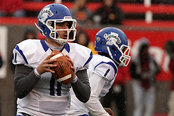 31 October 2015:  With rain falling, Matt Adam(11) stands in the pocket looking for a receiver during the NCAA FCS Football between Indiana State Sycamores and Illinois State Redbirds at Hancock Stadium in Normal IL (Photo by Alan Look)