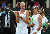 Tennis - 2017 Wimbledon Championships - Week One, Thursday [Day Four]<br /> <br /> Womens Doubles, Second Round match<br /> Jocelyn Rae and Laura Robson (GBR) v Raquel Atawo (USA) and Jelea Ostapenko (LAT)<br /> <br /> Jocelyn Rae and Laura Robson have to wait court side after Raquel Atawo was asked by the Wimbledon Ofiicials to leave the court and change her top which is not standard white on Court 5<br /> <br /> COLORSPORT/ANDREW COWIE