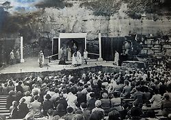 © Licensed to London News Pictures.  21/03/14.  Mirfield , UK. Collect picture taken between end second worldd war and 1970's showing the theatre in use. A community of monks has launched a £500,000 bid to restore a unique 19th century open-air theatre. The Quarry Theatre at the Community of the Resurrection, an Anglican religious retreat in Mirfield, W Yorks, was abandoned almost 40 years ago. Now general manager at the community, Guy Laurie (pictured), has had planning permission approved to restore the theatre and re-open it to professional companies and the local community. The natural amphitheater in the community's 20-acre grounds was created when stone was quarried to build a house. The quarry was turned into a theatre and as many as 6,000 people packed in to see plays and performances. Mirfield-born Hollywood actor Sir Patrick Stewart had his first stage experience in the theatre and high-profile politicians also addressed large crowds there. Keir Hardie, founder of the Labour movement, spoke there as did suffragette leader Emmeline Pankhurst. In the 1970s the community closed the theatre and it became overgrown. Photo Credit: Sam Atkins/LNP