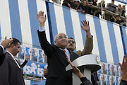 Baku, Azerbaijan, 12/10/2003..Isar Gambar, leader of the Musavat Party, addressing supporters at a campaign rally in support of his candidacy in the forthcoming Presidential elections..Gambar is the leading opposition candidate in the election which is likely to be won by Ilham Aliyev, son of current President Heydar Aliyev...........