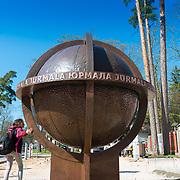 The tourists attraction the bronze globe in Jurmala, Latvia