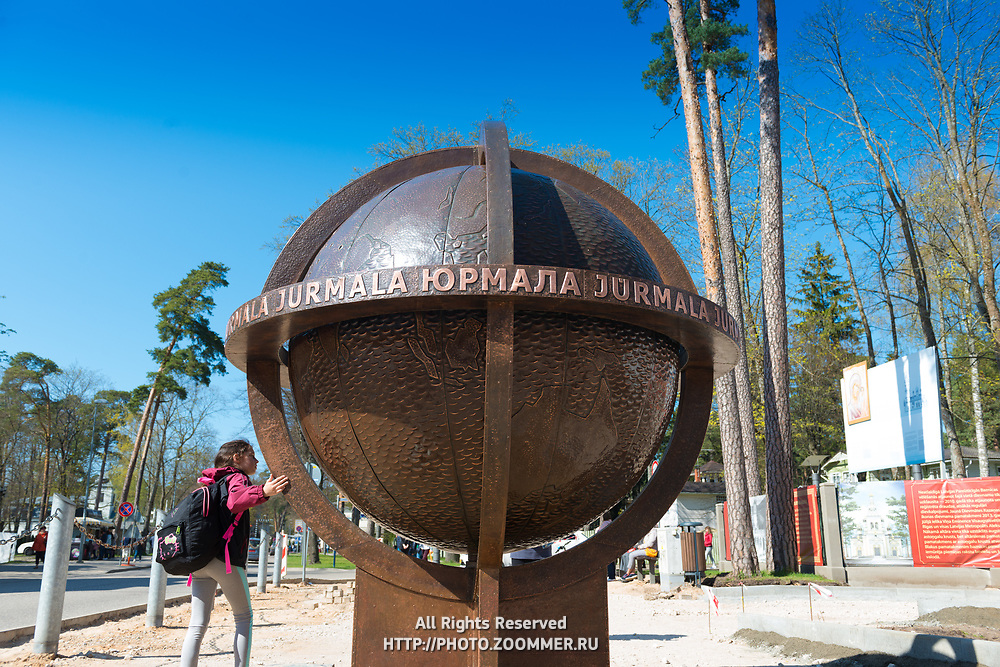 The tourists attraction the bronze globe in Jurmala, Latvia