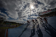 Riders on the start hill at the 2016 UCI BMX Supercross World Cup in Santiago del Estero, Argentina