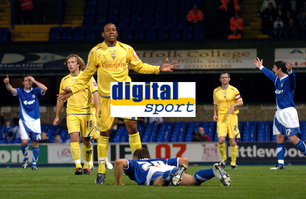 Photo: Ashley Pickering.<br /> Ipswich Town v Preston North End. Coca Cola Championship. 17/10/2006.<br /> Ipswich's Mark Noble is fouled in the box by Matthew Hill.
