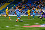 Coventry City midfielder Luke Thomas (23) on loan from Derby County, goes for goal during the EFL Sky Bet League 1 match between Oxford United and Coventry City at the Kassam Stadium, Oxford, England on 9 September 2018.