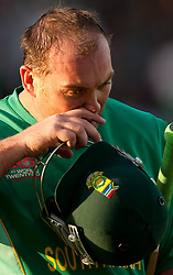 South Africa's Jacques Kallis leaves the field after being dismissed during the ICC World Twenty20, Semi Final at Trent Bridge, Nottingham.