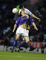 Photo: Paul Thomas. Leicester City v Derby County, Walkers Stadium, Leicester. Coca Cola Championship, 26/04/2005. Lilian Nalis and Adam Bolder.