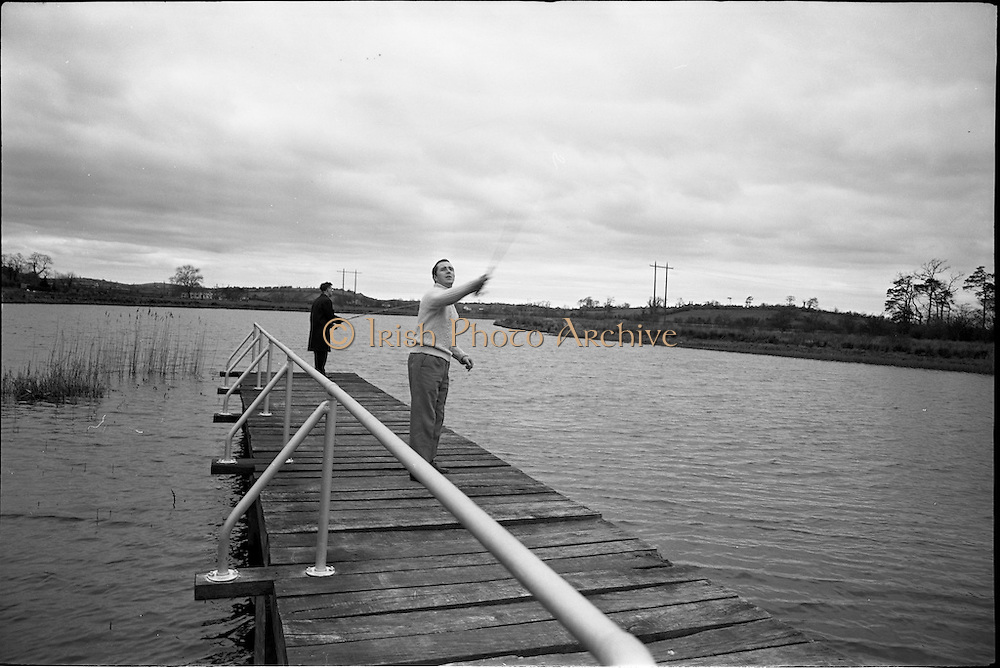 06-10/04/1964.04/06-10/1964.06-10 April 1964.Views on the River Shannon. Mr Thomas Maher (right), a local hotelier and secretary of the Carrick on Shannon Branch of the Ireland Waterways Association of Ireland. Living on the banks of the Shannon he is also a keen angler. Carrick on Shannon, Co. Offaly.