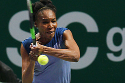 Oct. 24, 2017 - Singapore, Singapore - VENUS WILLIAMS of the United States competes during the group match against Jelena Ostapenko of Latvia at WTA Finals tennis tournament in Singapore. Williams won 7:5, 6:7, 7:5. (Credit Image: © Then Chih Wey/Xinhua via ZUMA Wire)