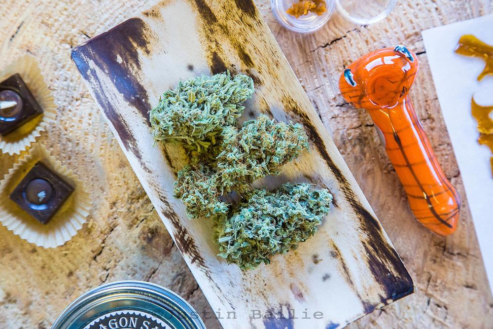 Various cannabis flower, edibles and paraphernalia at Oregon Coast Cannabis, a marajuana dispensary in Manzanita, Oregon.