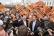 © Licensed to London News Pictures. 13/04/2015. Carshalton, UK. Tom Brake and Nick Clegg (R) arrive outside St Helier Hospital to talk to supporters.  Leader of the Liberal Democrats and Deputy Prime Minister Nick Clegg visits Carshalton and Wallington constituency on Monday (13th April) with Lib Dem candidate Tom Brake.  Photo credit : Stephen Simpson/LNP