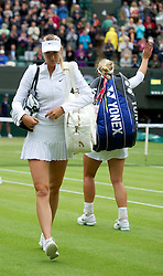 02.07.2012, Wimbledon, London, ENG, WTA Tour, The Championships Wimbledon, im Bild Maria Sharapova (RUS) walks off after dejected losing to Sabine Lisicki (GER) during the Ladies' Singles 4th Round match during day seven of the WTA TourWimbledon Lawn Tennis Championships at the All England Lawn Tennis and Croquet Club, London, Great Britain on 2012/07/02. EXPA Pictures © 2012, PhotoCredit: EXPA/ Propagandaphoto/ David Rawcliff..***** ATTENTION - OUT OF ENG, GBR, UK *****