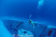 diver near bow of wreck of <br /> Russian missle frigate, Destroyer 356, <br /> renamed MV Capt. Keith Tibbits,<br /> Cayman Brac ( Caribbean Sea )   MR 282