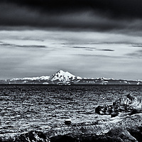 Ediz Hook & Mt Baker<br /> editted & converted to B&W 7/26/18  #1 of 1<br /> 1st printed 08/02/18<br /> 17x22 Primium Glossy Epson