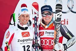 12.03.2010, Kandahar Strecke Herren, Garmisch Partenkirchen, GER, FIS Worldcup Alpin Ski, Garmisch, Men Giant Slalom, im Bild die beiden drittplazierte, Schoerghofer Philipp, ( AUT, #12 ), Ski Atomic und Ligety Ted, ( USA, #3 ), Ski Rossignol, EXPA Pictures © 2010, PhotoCredit: EXPA/ J. Groder / SPORTIDA PHOTO AGENCY