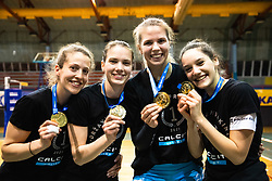 Leja Janezic of Calcit Volley, Spela Marusic of Calcit Volley, Anja Zorman of Calcit Volley and Zala Spoljaric of Calcit Volley with medals after 3rd Leg Volleyball match between Calcit Volley and Nova KBM Maribor in Final of 1. DOL League 2020/21, on April 17, 2021 in Sportna dvorana, Kamnik, Slovenia. Photo by Matic Klansek Velej / Sportida