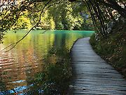 Croatia, Plitvice Lakes National Park, A wooden pathway provides easy access