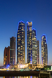 Night skyline view of Etihad Towers  in Abu Dhabi in United Arab Emirates