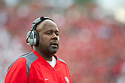 Sep 10, 2011; Little Rock, AR, USA; New Mexico Lobos coach Mike Locksley calls a play during the first half of a game against the Arkansas Razorbacks at War Memorial Stadium.  Mandatory Credit: Beth Hall-US PRESSWIRE