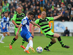 Bristol Rovers' Jake Gosling and Forest Green Rovers's Charlie Clough battle for the ball - Photo mandatory by-line: Nizaam Jones /JMP - Mobile: 07966 386802 - 03/05/2015 - SPORT - Football - Bristol - Memorial Stadium - Bristol Rovers v Forest Green Rovers - Vanarama Football Conference.
