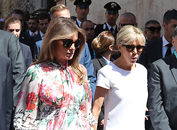 May 27, 2017 - Taormina, Sicily, Italy - US First Lady MELANIA TRUMP with France's First Lady BRIGITTE TROGNEUX during the second day of G7 Taormina summit tour the island of Sicily. (Credit Image: © Gabriele Maricchiolo/NurPhoto via ZUMA Press)