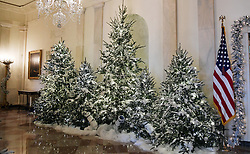 Christmas trees and holiday decorations are seen inside of the White House in Washington, DC, November 27, 2017. . Photo by Olivier Douliery/Abaca Press